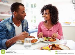 images black couple eating